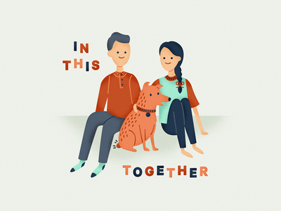 In This Together texture cattle dog red heeler illustration social distance quarantine dog characters portrait family portrait family