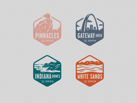 New National Parks dunes sand beach condor icons gateway arch white sands indiana dunes pinnacles badges illustration iconography icon stamps national parks