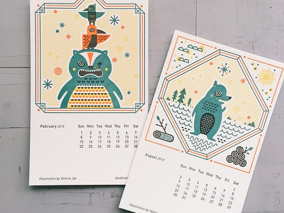 Folklore Calendar letterpress calendar illustration bird bear totem myth folklore studio on fire lake wishpoosh beaver