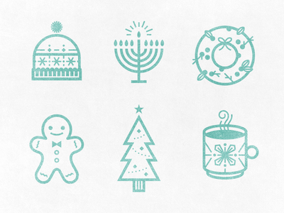 Holiday Icons christmas icon holiday beanie hat wreath gingerbread tree cocoa menorah candle illustration