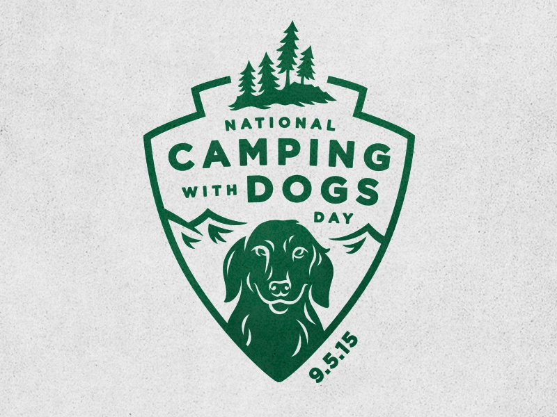 Camping With Dogs Day camping with dogs mountains illustration shield pine tree dog camping