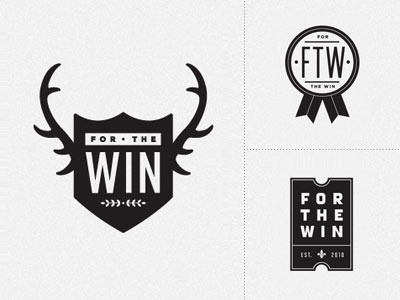 for the win prize logo identity antlers shield ribbon win ticket ftw plaque salt lake city