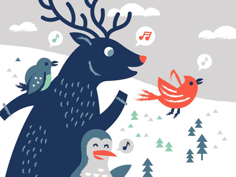 Holiday Quartet illustration grand america holidays penguin cardinal bird deer reindeer pine trees snow holiday winter