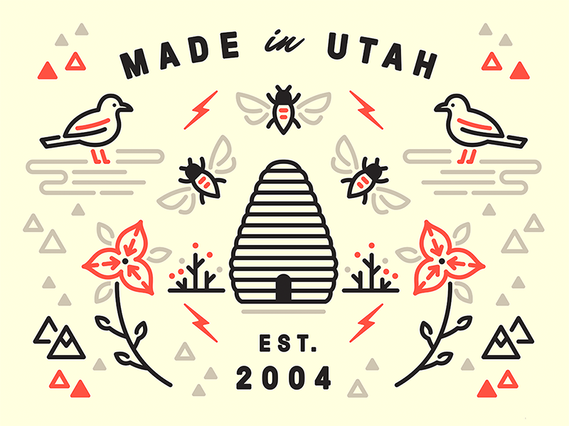 Experticity Mural—Utah experticity illustration bolt mountains bee gull seagull sego lily beehive utah mural