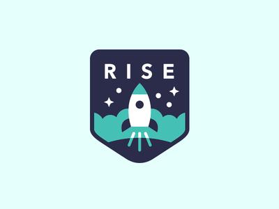 Rise launch sky space rocket rocketship logo