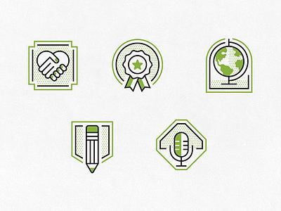 SCBWI Icons handshake microphone pencil globe award illustration badges scbwi iconography icons