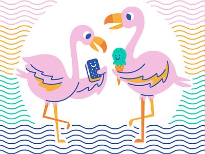 Flamboyance june studio on fire calendar ice cream cone birds dessert ice cream sandwich water ice cream flamingos flamingo illustration