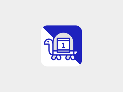 Simple Pacer—App Icon stamp app badge design icon tortoise race pacer pace turtle app icon logo identity illustration