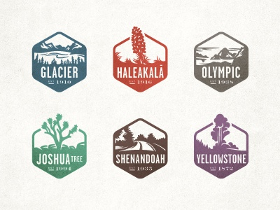 National Park Stamps badges stamp logo icon national parks national geographic illustration identity