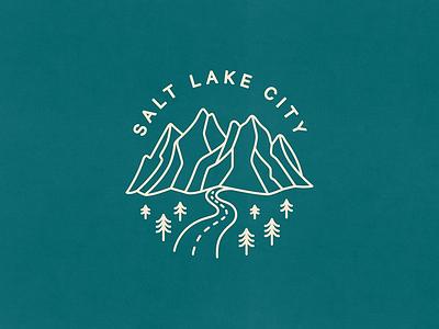 Salt Lake City branding nature design stamp slc salt lake city utah mountains badge illustration