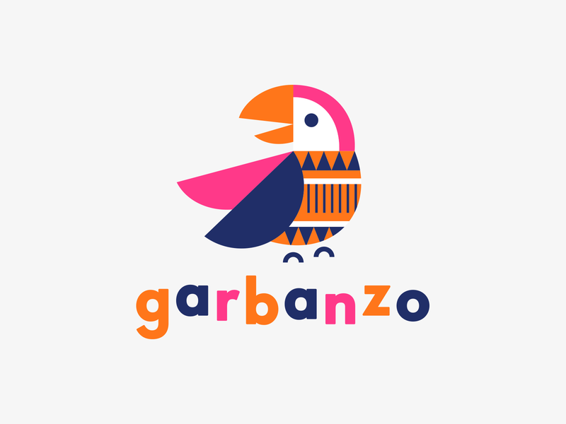 Garbanzo logo illustration identity geometric pattern language bird macaw parrot spanish garbanzo