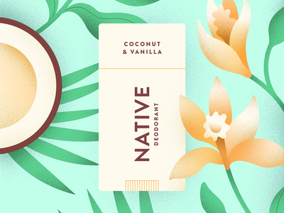Native—Coconut & Vanilla plants botanical floral vanilla coconut native illustration deodorant
