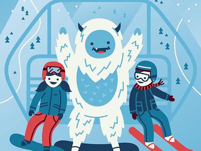 Yeti winter resort mountain snow chairlift ski lift snowboard ski ski utah yeti illustration