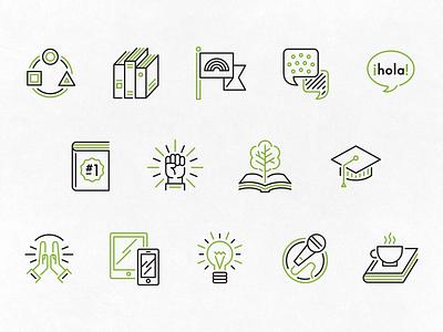 SCBWI—Affinity Groups Icons writers scbwi line media speech bubble language illustration icon set iconography icons books badges
