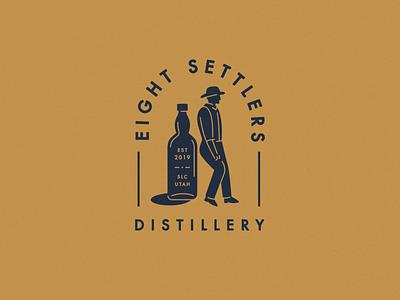 Scrap—ESD stamp illustration brand design logo design branding bottle settler distillery identity logo