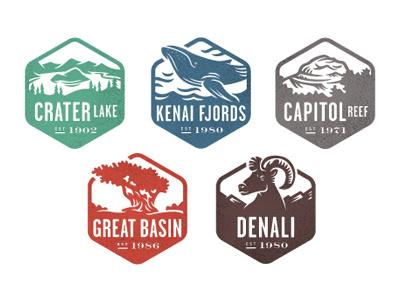National Park Stamps, Part 2 badges illustration identity logo icon stamp national geographic national parks