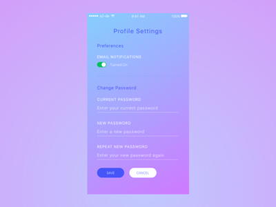 DailyUI007 Settings Screen