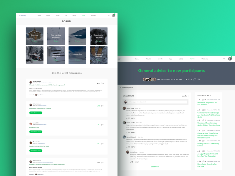 Forum Redesign concept by Iglika Mateeva-Drincheva on Dribbble