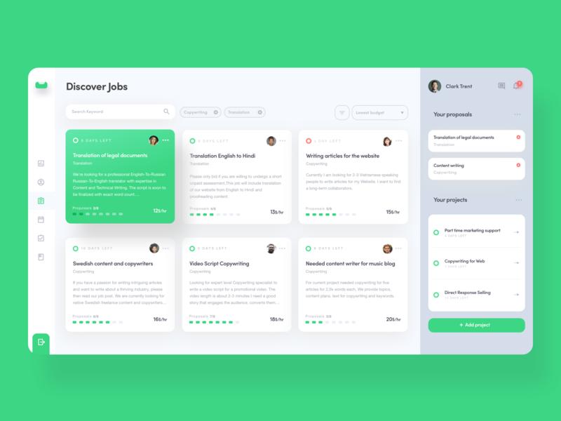 Job finder portal website web ui  ux job list finding posting portal finder dashboard jobs job green typography ux tsh design