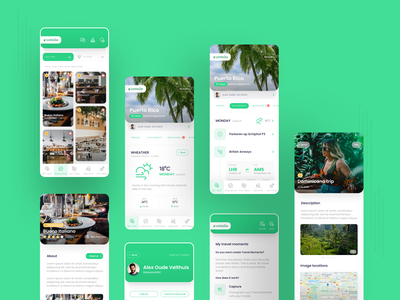 Travel App schedule android ios designs green trip ui design ui  ux traveling travel app tsh design