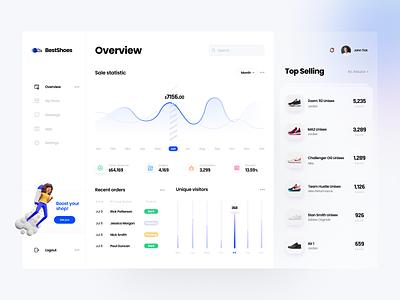 Sneakers Shop Dasboard dashboard software house shoes sneakers clean ux ui blue app tsh design