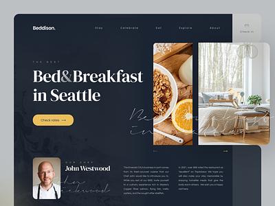 Bed and Breakfast site product service site web dark breakfast bed ux ui tsh design