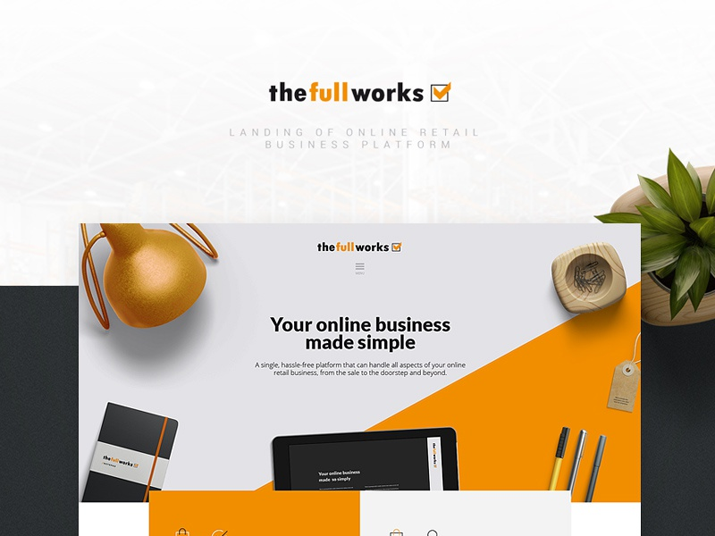 TFW corporate site design ecommerce thefullworks corporate design orange landing