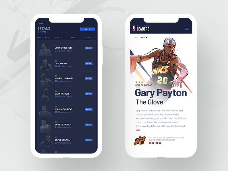 All-Time Leaders Concept blue poster typography iphone ux-ui stats tsh illustration nba ui vector mobile
