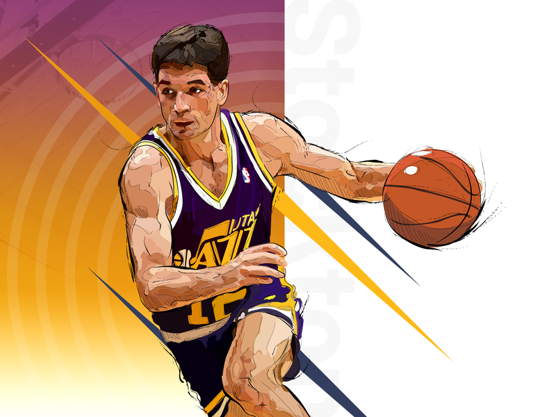 John Stockton utah jazz tsh ai illustration nba stockton intuos vector poster design