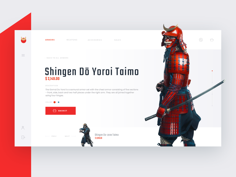 Samurai Armor Shop Concept web  design ux ui shop photo samurai red
