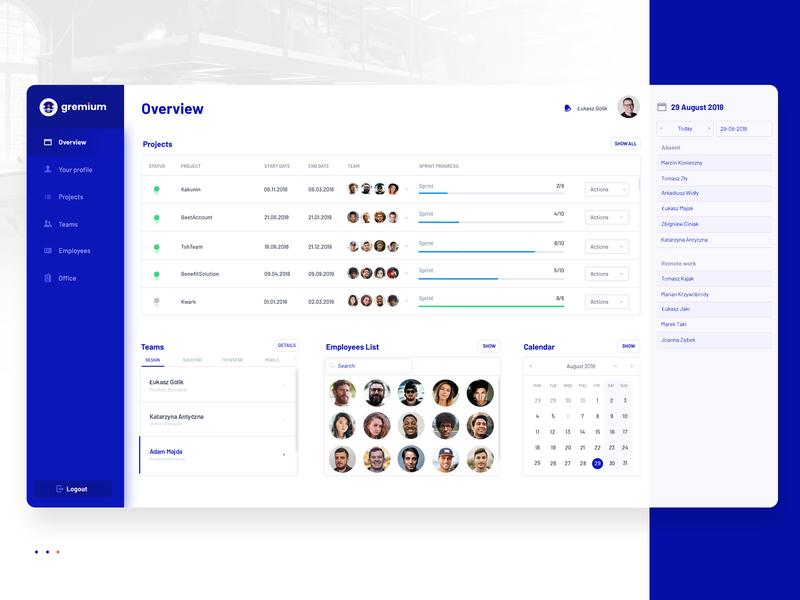 Gremium Overview gremium tsh app web  design dashboard ux ui blue design hr