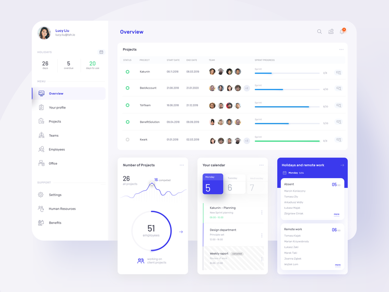 Hr Web Platform hr web design ux dashboard design ui tsh blue app