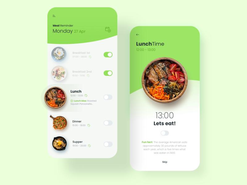 Meal reminder design ux ui tsh food green meals app reminder meal