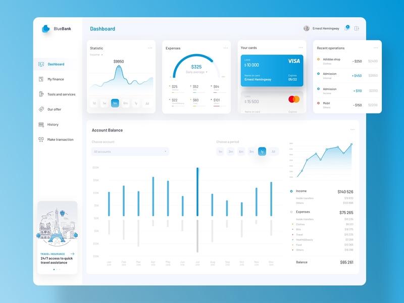 Banking Dashboard (blue) platform green orange color banking bank dashboard ux ui tsh blue