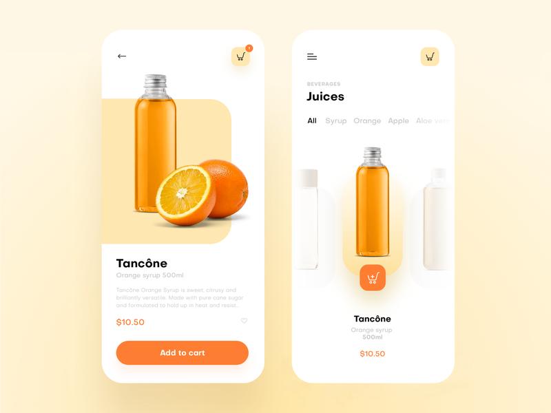 Food shopping app shop juice shopping design ios app ux ui food app ecommerce food orange tsh