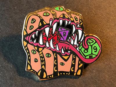 Mimic Enamel Pin dnd5e monster dice pin badge rpg game art gameart d20 treasure chest mimic dragon dungeons dungeons and dragons lapelpins lapelpin enamelpins enamelpin pin
