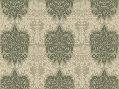 Green Man Brocade - textile pattern