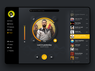 🎧 Music Player V2- Dark Mode ux ui shadow neumorphism neumorphic music player music app music mango ipad gradient digital design dark dailyui colors black app