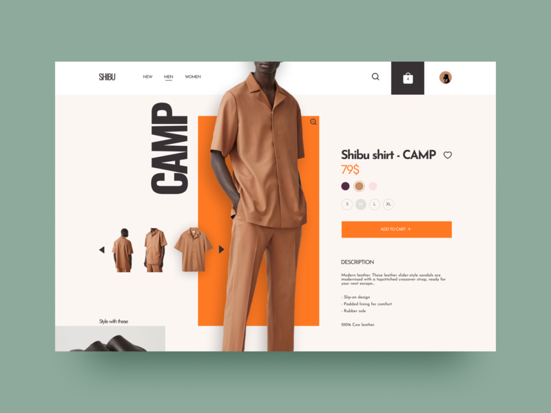 Shibu Fashion Store - Single Product design webdeisgn uiux ecommerce typography buy shirt fashion orange interaction interface product single product dailyui ux ui website webdesign web