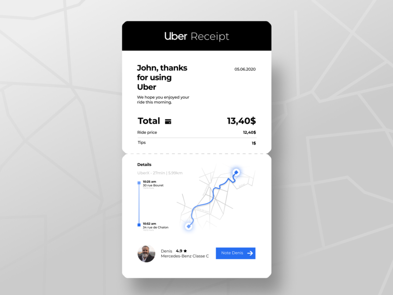 Uber Email Receipt trend popular shot popular best shot taxi car cab ride bill uber interaction interface button receipt email receipt email dailyui ux ui design