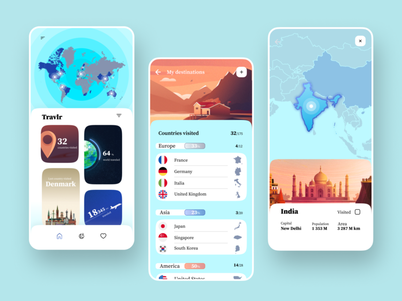 Travel App continent dailyui travel application europe asia america destination discover check pin add country places globe world best shot interaction interface app ux ui design