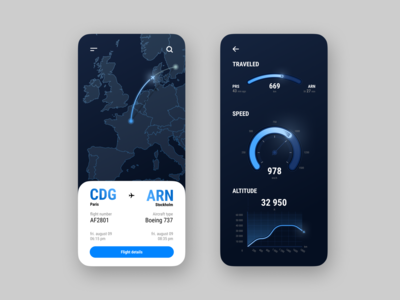 Flight Tracker best shot speed location tracker flight search flight app aircraft distance flight dark blue clean analytics chart altitude interaction interface app dailyui ui ux design