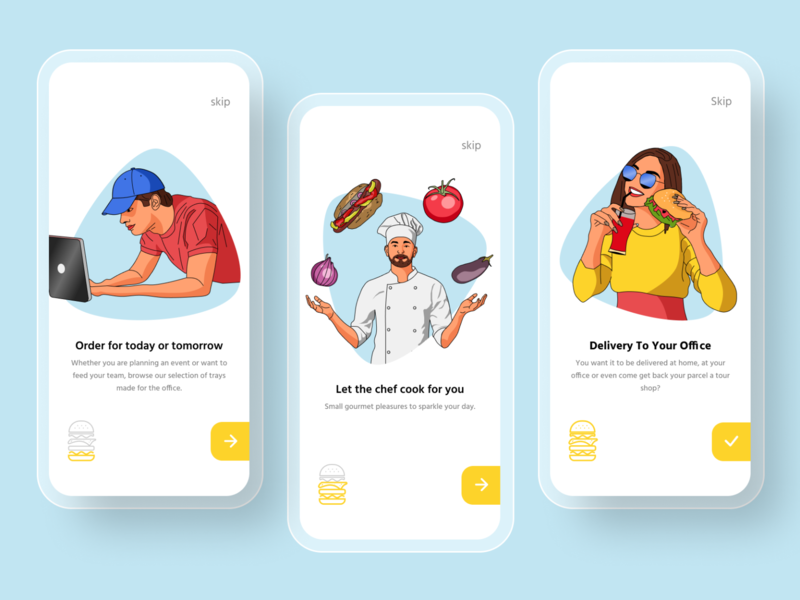 Food Delivery Onboarding delivery service delivery app food and drink food app vegetables chef onboarding order delivery food burger illustration best shot interaction interface app dailyui ux ui design