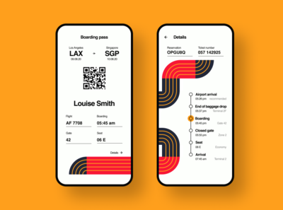 Retro Modern Flight Boarding Pass airline airplane geometric illustration aircraft airport flight boarding pass red orange vintage popular best shot interaction interface app dailyui ux ui design