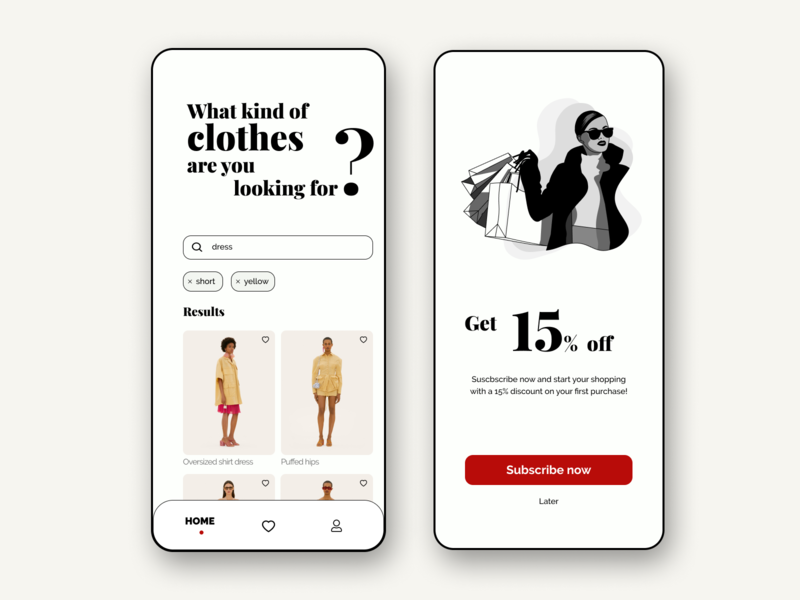 Shopping Fashion App search bar search typogaphy font like illustration clean discount shopping fashion clothes subscribe button best shot interaction interface app dailyui ui ux design