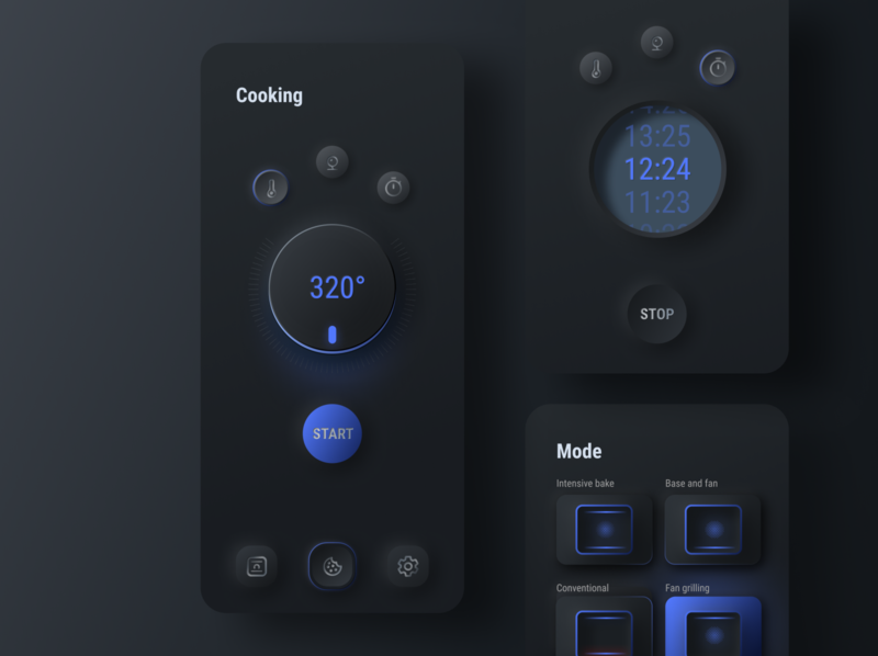 Smart Oven App - Soft UI dark mode dark countdown timer start pause oven skeuomorph neumorphism neumorphic trend smart app popular button best shot interaction interface dailyui ux ui design