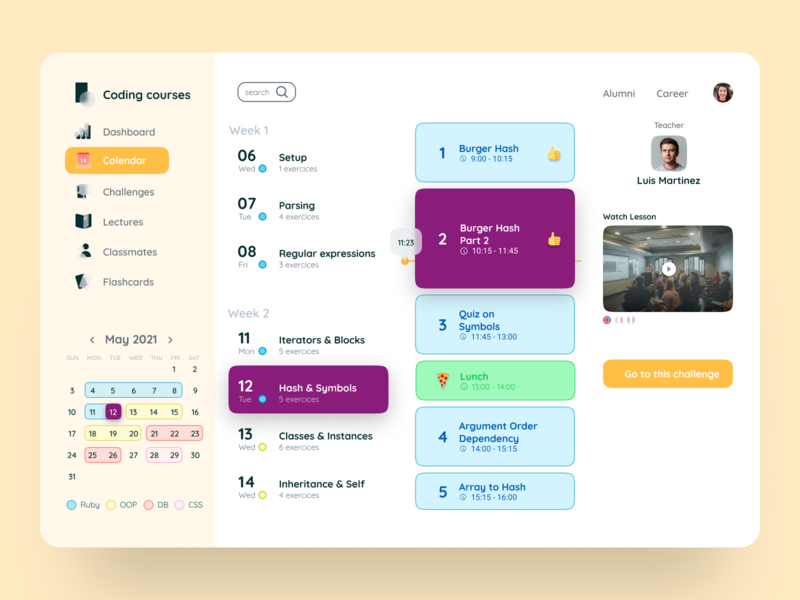 classroom lessons user interface web schedule stroke icons calendar code training teach lesson e-learning education class app interaction interface dailyui ux ui design