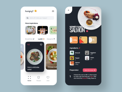Cooking App vegetable eat dish figma recipe cuisine chef menu foodie food cooking cook typogaphy interaction interface app dailyui ux ui design