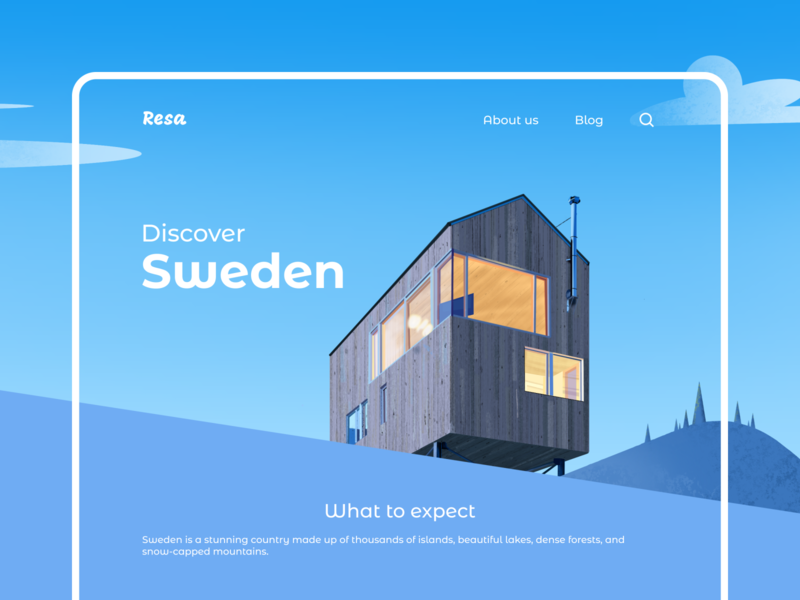 Travel Interface landing page house landscape font typography sweden travel architecture graphic ipad procreate illustration interaction interface dailyui ux ui design
