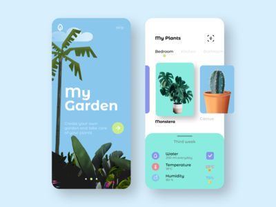 Plant App 🌱 procreate green mobile light indoor sketch list application concept grid garden plant app interaction interface dailyui ux ui illustration design